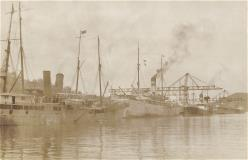 Vintage photo of the dock and ships