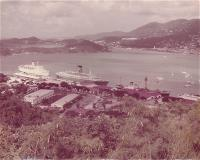 Vintage panoramic photo of the dock